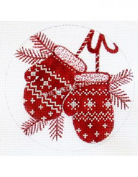 white ornament with red mittens and pine branches