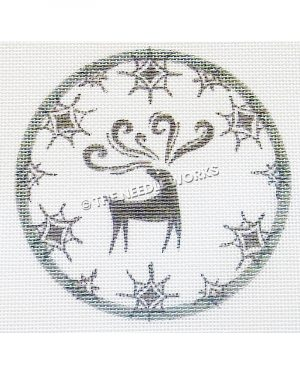 white ornament with silver deer and snowflakes on border