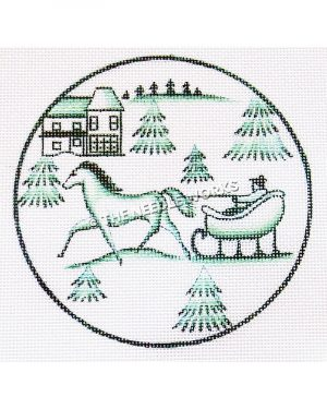 white ornament with green snow scene of man in horse-drawn carriage, trees, and two-story house