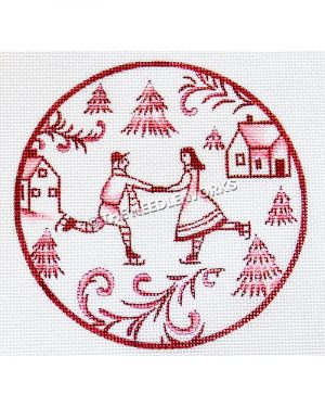 white ornament with red snow scene of ice skating couple, trees, and houses