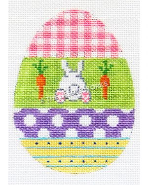 Easter egg with pink and white plaid, white bunny behind with carrots on green background, purple and white polka dots, and yellow and blue stripes