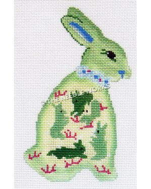 green and white bunny with smaller green bunnies on side wearing blue collar