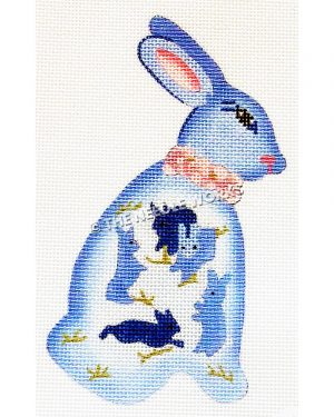 blue and white bunny with smaller blue bunnies on side wearing pink collar