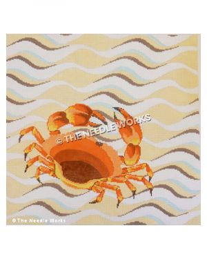 red crab walking on yellow, white, blue and black wave pattern