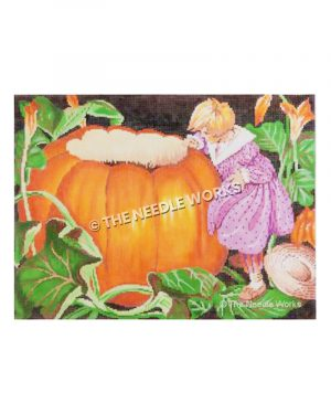 small blonde girl in purple polka dot dress peeking into pumpkin with top opened with green vines and orange flowers on dark background