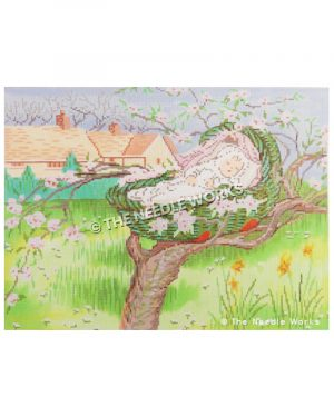 baby sleeping in basket in tree branch with pink flowers and field and houses with green fence in background