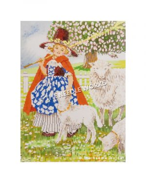 Mary and her little lamb wearing blue and white dress and red cape with maroon hat with yellow flowers with lambs, white fence, and large tree with pink flowers in background