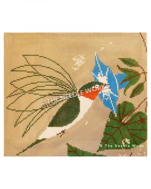 hummingbird with blue flower on beige background