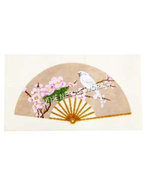 tan fan with white bird sitting on branch with pink flowers