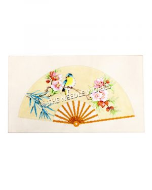 yellow fan with blue and yellow bird on branch with pink flowers and blue leaves