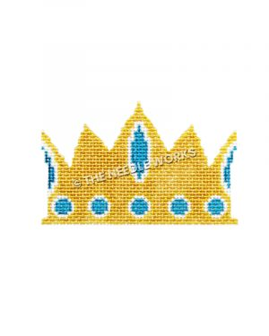 gold crown with blue jewels