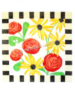 red and yellow flowers on white background with yellow and black squared border