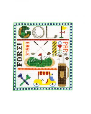 golf theme square with golf course with pin, clubs, cart, tees, and words FORE!, EAGLE, PAR and GOLF written with blue and white square patterned border