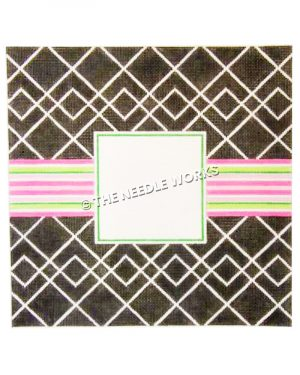 black picture frame with white square pattern and pink, green and white stripes