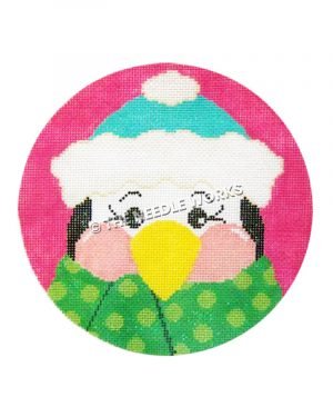 pink ornament with closeup of penguin in blue and white hat and green polka dot scarf