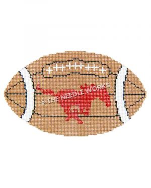 football with SMU mustang in red