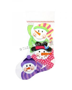 stocking with 3 snowmen in purple, green and pink scarves