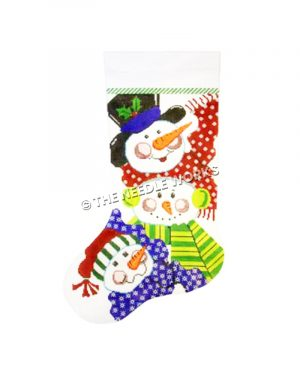 stocking with 3 snowmen in blue, green and red scarves