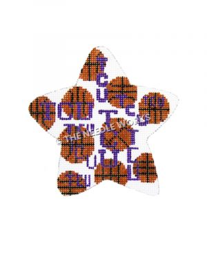 white star with basketballs and TCU logo