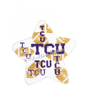 white star with footballs and TCU logo