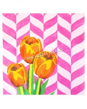 orange and yellow tulips with pink and white chevron background