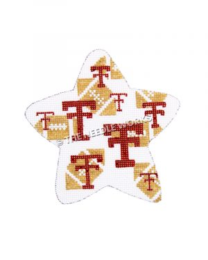 white star with footballs and TTU logo
