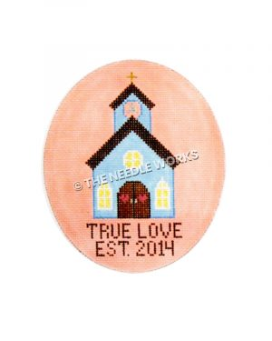 blue church with black roof and yellow cross on top on pink oval with TRUE LOVE EST. 2014 written in black below