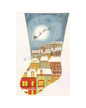 stocking with silhouette of Santa flying in front of moon over city with snow-covered tall buildings