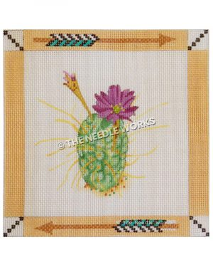 cactus with purple flower and southwestern border with gold and turquoise arrow