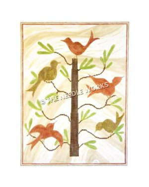 pink and yellow birds sitting on tree of life with yellow and white swirled background