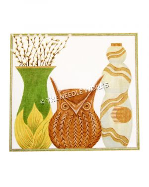 green and yellow vase with white flowers, brown owl, and white vase with gold diagonal stripes on white background