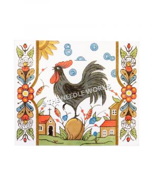 black rooster standing on peach with farmhouse buildings on white background with blue circles and sun and multi-colored flowered border