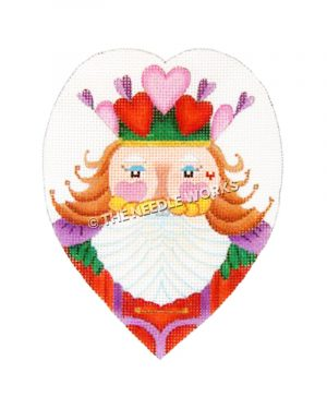 heart with face of nutcracker wearing a crown of pink and red hearts and red, purple and green suit with blonde hair and white beard