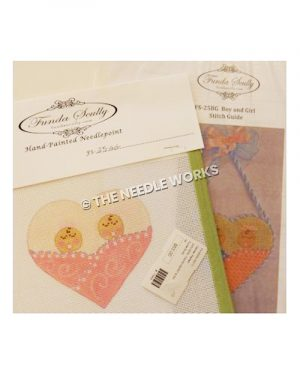 heart shaped ornament with two babies in pink blanket