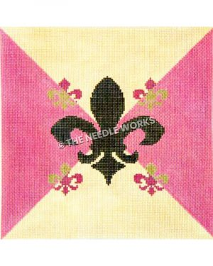 black fleur de lis on pink and white triangle background and smaller pink and gold fleur de lis