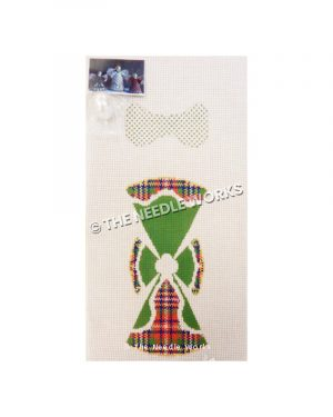 3D angel in red, green, blue and yellow plaid dress with green robe