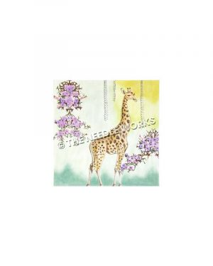 giraffe with purple hanging flowers on green and yellow background