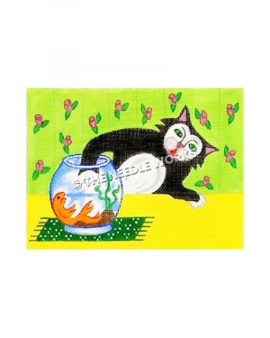 black and white cat reaching into goldfish bowl sitting on yellow table with green and pink flowered wallpaper in background