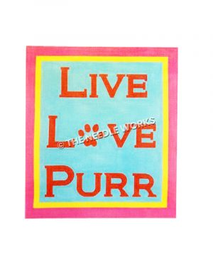Live Love Purr in red letters on blue background with pink and yellow border