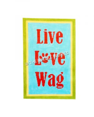 Live Love Wag in red letters on blue background with green and yellow border