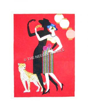 woman in red, and multi-colored striped pencil dress wearing a blue hat and holding a gold mask standing next to a leopard on red background