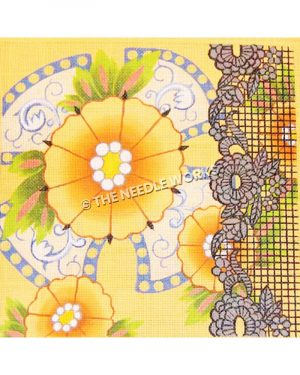 yellow and orange flowers with blue and white decorative background and silver plaid side border with flowers in outline