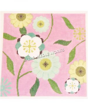 yellow, blue, green and white flowers on pink background