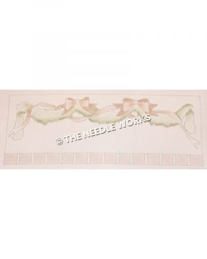 garland with pink ribbons and bows and pink and white checkered border