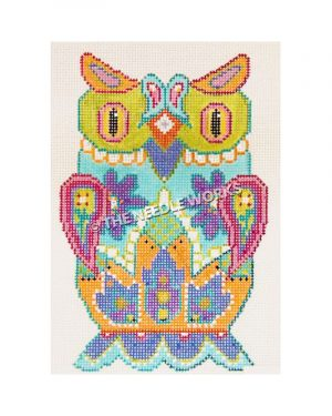 multi-colored owl with detailed flower designs