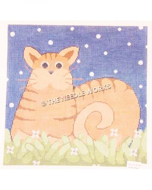 orange striped cat sitting in grass with white flowers and blue starry sky