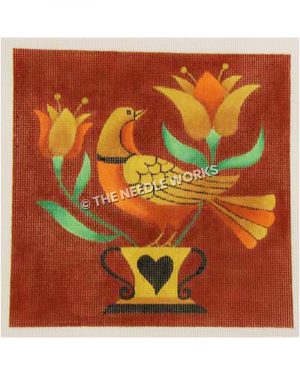 gold and orange bird and birds on black and gold vase with red background