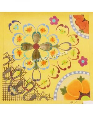 green, orange, purple, and blue flowered patterns in sampler sections on yellow background