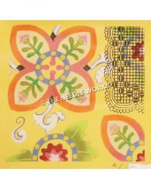 pink, yellow, and blue flowered patterns in sampler sections on yellow background