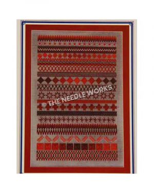 geometric patterned rug in silver and red